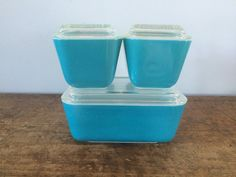 6 pc Vintage Pyrex Teal/Turquoise Blue by eddysmercantile on Etsy