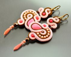 Pink Sunset - Long Pink Brown Dangle Soutache Earrings - Pink Long Dangle Earrings - Pink Earrings - Orecchini Soutache - Statement Earrings by OzdobyZiemi on Etsy