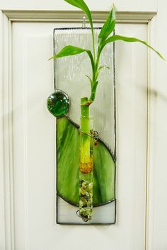 Panda Forest Bamboo Plant Stained Glass Panel by miloglass on Etsy, $35.00