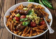 SPICY BOEREWORS AND CABBAGE PASTA - This recipe is the epitome of thinking out-of-the-box. Who knew that boerewors with cabbage could be paired? Not only are they a perfect match but delicious too. South African Recipes, Ethnic Recipes, Kitchen Recipes, Cooking Recipes, Cooking Classes, Kung Pao Chicken, Pasta Recipes, Food To Make, Spicy