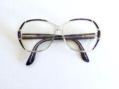 80's Tri-tone Purple and Black Eyeglasses / Oversized Violet Geode Purple & Black on Clear Plastic Frames Prescription Eyewear / Eye Glasses