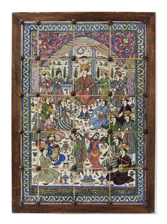 شاه و درباریان، پنل کاشی  عمل میرزا عبد الجواد، در کارخانه استاد (...) ابراهیم، نیمه دوم قرن 19 میلادی با الهام از نقاشی آبرنگی چهلستون اصفهان، متشکل از بیست و کاشی رنگارنگ، صحنه با وقار، یک شاهزاده و درباریان، نوازندگان و رقاصان ، با دو کتیبه  83.2 X 115cm A LARGE FIGURAL POTTERY TILE PANEL SIGNED MIRZA 'ABD AL-JAWWAD, QAJAR IRAN, SECOND HALF 19TH CENTURY Inspired by the Chehel Sutun Safavid fresco in Isfahan, composed of twenty polychrome tiles, depicting a courtly scene with a prince and…