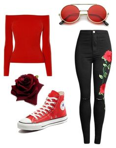Red rose by misspaipai on Polyvore featuring polyvore, fashion, style, Karen Millen, Converse, ZeroUV and clothing
