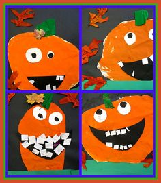 Pumpkin Art - this is a great site with colorful artwork by kids. love how they all turn out differently Halloween Arts And Crafts, Halloween Activities, Halloween Projects, Art Activities, Fall Crafts, Kindergarten Art Projects, Classroom Art Projects, Art Classroom, Halloween Kunst