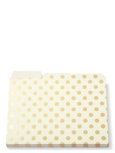 Spiff up your desktop by corralling papers in these gold dot file folders from kate spade new york. - set of 6 - 9 x 11 This item is manufactured by Lifeguard Press under the license of ka Gold Dots, Gold Stripes, Cubicle Makeover, Cute Desk, Office Decor, Office Ideas, Office Organization, Creative Thinking, Graphic Prints