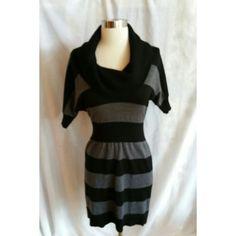 ANN TAYLOR LOFT Size S Black Gray Sweaterdress Sweater Knit Dress Wool Blend #AnnTaylorLOFT #SweaterDress #WeartoWork