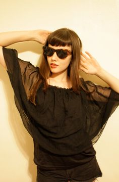 Vintage Sheer Black Cape Shirt with Tank / Visual by MurdyBurdy, $14.00