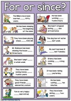 For or since? Teaching English Grammar, English Worksheets For Kids, English Games, English Lessons For Kids, English Activities, English Language Learning, Learn English Words, English Writing, English Study