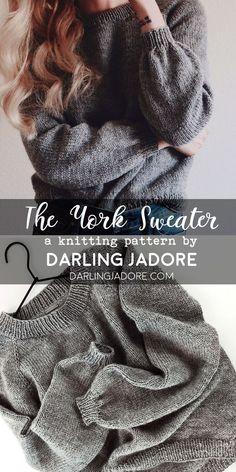 the york sweater knitting pattern suéter raglán de punto de arriba hacia abajo fácil ; the york sweater knitting pattern einfacher, von oben nach unten gestrickter raglan-pullover Easy Sweater Knitting Patterns, Easy Knitting Projects, Knitting For Beginners, Knit Patterns, Beginner Knitting Patterns, Diy Knitting Ideas, Crochet Sweater Patterns, Diy Crochet Sweater, Knit Cardigan Pattern