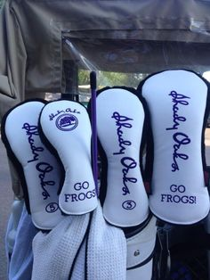 LPGA Tour player Angela Stanford recently got a new set of headcovers that reflect her two great loves -- Shady Oaks Country Club and the TCU Horned Frogs.
