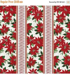 YEAR END SALE Winter Lodge~Poinsettia Stripe~Christmas Cotton Fabric by~Studio E~Fast Shipping Hc306
