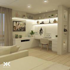 Modern Home Office Design Home Office Closet, Home Office Setup, Guest Room Office, Home Office Space, Home Office Design, Home Interior Design, House Design, Corner Office, Office Desk