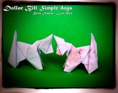"""Un nouveau modèle, plié à partir d'un rectangle au format """"dollar  bill"""" 8.7 cm x 21 cm pour une une feuille A4.J'aime bien ce modèle le  corps reste le même pour le chat et le chien, il y a deux positions pour  la tête, basse et haute. J'ai aussi fait deux façons différentes pour  les oreilles, on peut modifier comme on veut la tête. Pour le chat il  faut modeler les pattes et la queue.Bon Pliage.....Good folding...."""
