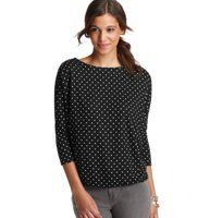 Polka Dot Wedge Top - Mini polka dots bring a deliciously cute vibe to this laid-back wedge top. Boatneck. 1/2 sleeves. Grosgrain trim at back neck. Keyhole detail at back neck with button and loop closure. Gathered beneath back yoke. Gathered elasticized hem.
