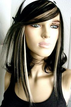 Image result for dark hair with grey highlights