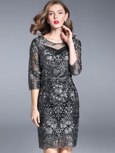 Elegant O-Neck 3/4 Sleeve Embroidery Bodycon Dress from DressSure.com #dresssure #fashion #dresses #HighQuality