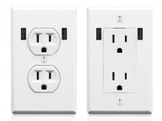 $25 U-Socket AC receptacle replaces traditional wall outlets, has built-in USB ports, eliminates the clutter of AC adapters, 5-star energy efficient design auto-senses wattage & only outputs full power if something is connected to it