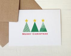 Christmas greeting card modern christmas trees by AvenirCards, $4.50