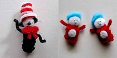 Cat in the hat and Thing 1 and 2 made out of poms and pipe cleaners