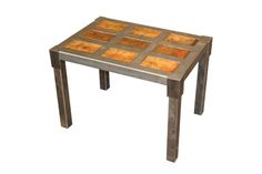 """Pallet Side Table  28"""" x 20"""" x 20""""  Top:  antique conveyor carts with solid oak panels.  Frame:  recycled steel pallet racking."""