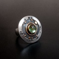 abi cochran rings | Silver jewellery by Abi Cochran - Large green tourmaline circles ring ...