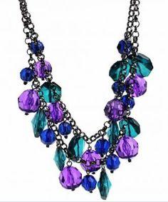 Mulitcolor Rhinestone Long Necklace
