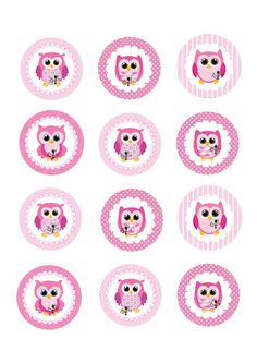 Items similar to Pink Owls edible cupcake toppers- inch rounds on Etsy Owl Birthday Parties, 9th Birthday, Owl Party Decorations, Owl Classroom, Baby Month Stickers, Edible Cupcake Toppers, Paper Owls, Shower Bebe, Printable Pictures