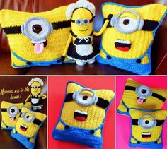 You love animated Minions from Despicable Me for any reason. Here is a fabulous collection of Crochet Minion patterns , enjoy these cute Minion projects ! Crochet Diy, Crochet Crafts, Crochet Dolls, Crochet Projects, Crochet Cushion Pattern, Crochet Cushions, Crochet Pillow, Blanket Crochet, Crochet Granny