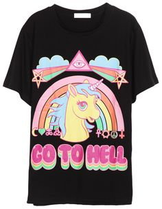 Black Short Sleeve Rainbow Horse Print T-Shirt - Sheinside.com