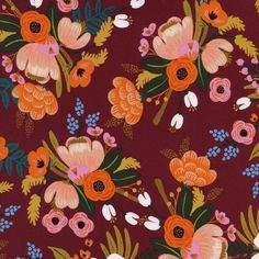 Visit out tiny fabric shop where you'll find all the pretty fabrics like this drapey rayon from Rifle Paper Co. for Cotton + Steel, this is Amalfi Lively Floral in burgundy colorway. Rifle Paper Company, Pretty Backgrounds, Phone Backgrounds, Textiles, Surface Pattern Design, Amalfi, Dusty Rose, Sewing Projects, Burgundy