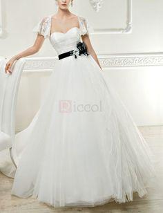 ❀ Classic Ribbons Sweetheart Brush Train Tulle Wedding Dresses | Riccol ❤