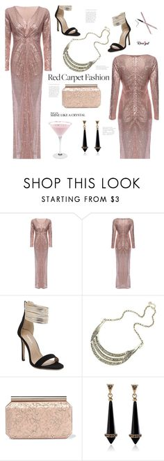 """""""Red Carpet at the Oscars(rosegal 27)"""" by meyli-meyli ❤ liked on Polyvore featuring Oscar de la Renta, vintage, RedCarpet, sandals, PinkDress and rosegal"""
