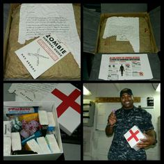The first package! He loved it! Zombie Apocolypse themed. We love the walking dead so I knew he would love this.