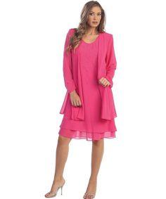 elegant two piece pink plus size mother of bride dress set jacket The Dress Outlet