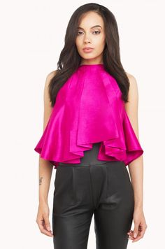 Crop tops are crossing over to the fancy side. AMMO Crop Umbrella Top is for those who want to show out! The top has a high neck and beautiful large pleats in the front. Pink Umbrella, Cute Tops, Cardigans For Women, Blouse Designs, Fashion Forward, Long Sleeve Tops, Bodysuit, Sassy, Corset
