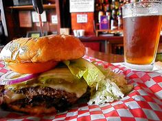 one of the best burgers and beers of my life at mac's place in downtown silverton, oregon - fearless scottish ale made locally in estacada, oregon