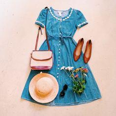 jean dress straw hat tan heels and a cute bag