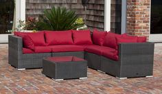 The Sino Wicker Sofa Set includes five all-weather wicker seats and a glass-top table.Also included are thick outdoor cushions for added comfort. The attractive mocha finish is the perfect accent for any deck or patio. The modular design makes th. Wicker Shelf, Wicker Table, Wicker Sofa, Wicker Furniture, A Table, Outdoor Furniture Sets, Wicker Man, Wicker Dresser, Outdoor Rooms