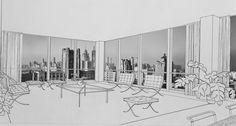 Ludwig Mies van der Rohe (1886-1969) 860-880 Lake Shore Drive, Chicago Sketch