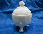 French Vintage White Opaline Milk Glass Covered Candy Dish (A002)