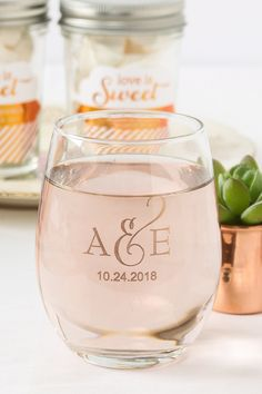 Perfect for your wedding! Send your guests home with a personalized 9 oz. stemless wineglass.