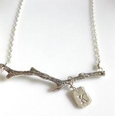 """Tree Branch Necklace """"Out on a Limb"""" in sterling silver"""