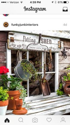 Rustic shed reveal with sawhorse potting bench and old rake sign for garden tools (Funky Junk Interiors) Garden Cottage, Garden Art, Garden Ideas, Old Garden Tools, Gardening Tools, Container Gardening, Garden Tool Shed, Fairies Garden, Garden Junk