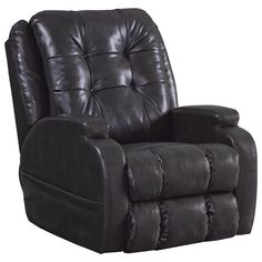 Catnapper Jenson Leather Power Lift Lay Flat Recliner with Dual Motor in Coal