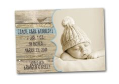 Vintage Wood Birth Baby Announcement  simple & by gwenmariedesigns, $15.00