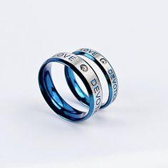 Diamonds Sweet Love Devotion CZ Anéis Couple Embutidos Titanium Aço de 2016 por €14.69