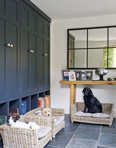 Looking for utility room ideas? Be inspired by this country boot room with wicker beds Boot Room Utility, Utility Room Storage, Dog Storage, Storage Ideas, House Essentials, Painted Cupboards, Small Laundry Rooms, Animal Room, Dog Rooms