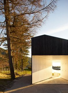 Laggan Locks Sean Douglas and Gavin Murray  Cafe and camping facilities for Scenic Routes, Scotland Charred timber cladding, white interior