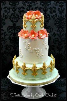 vintage styled  rose  and fleur de lis cake
