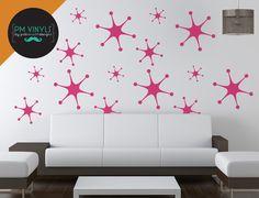 Retro Starburst Vinyl Wall Decals Set of 15   SHA018 by PMVinyls